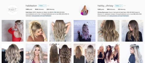 Side by side screenshots of instagram profiles for Habit salon and owner Chrissy.