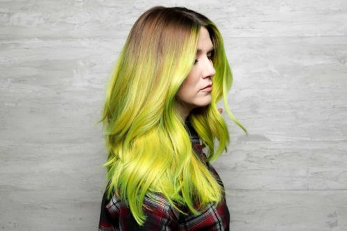 Neon green balayage hair painting