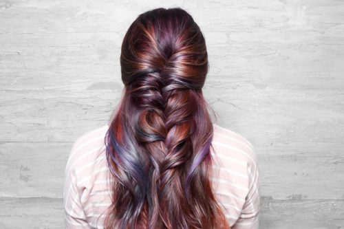 Purple pink balayage braid