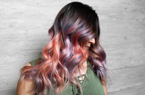 Evo Fabuloso Pro cotton candy purple orange pink balayage hair
