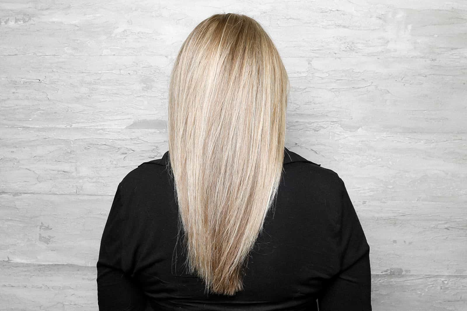 Perfect smooth blow out with ash blonde color correction