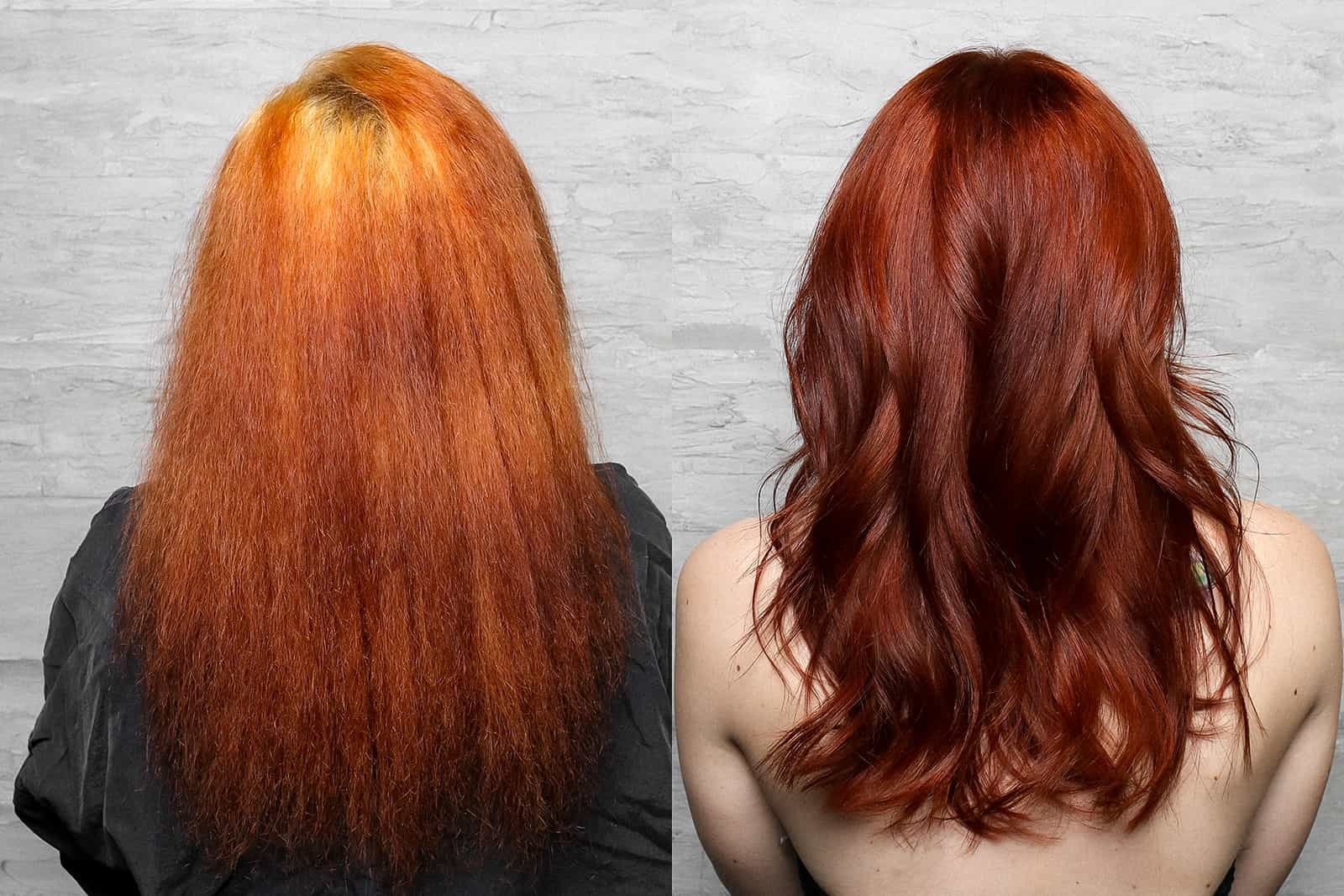 Before and after showing fried hair and color correction fix