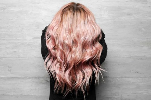 Pink balayage with hair extensions