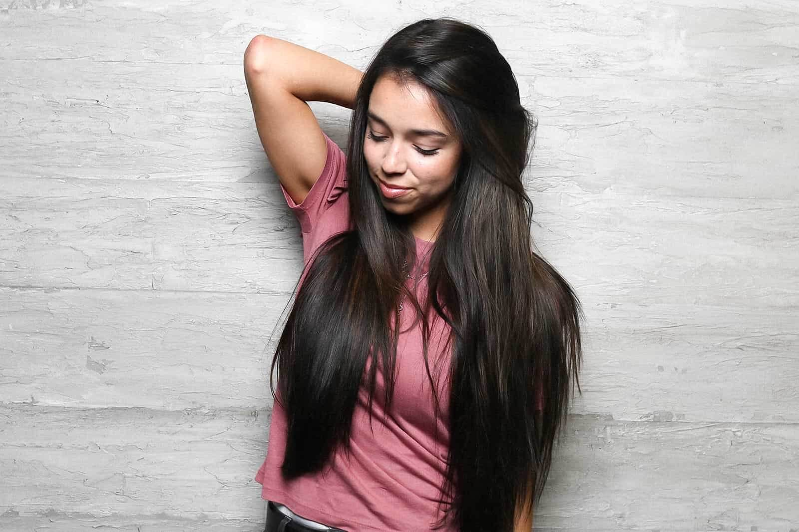 Dark tape in hair extensions for thin hair