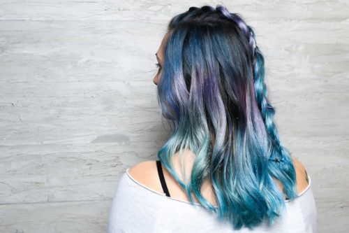 Ocean color blue purple balayage hair with braid