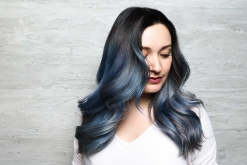 Blue jean gray balayage ombre hair