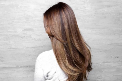 Partial highlights balayage smooth blow out hair