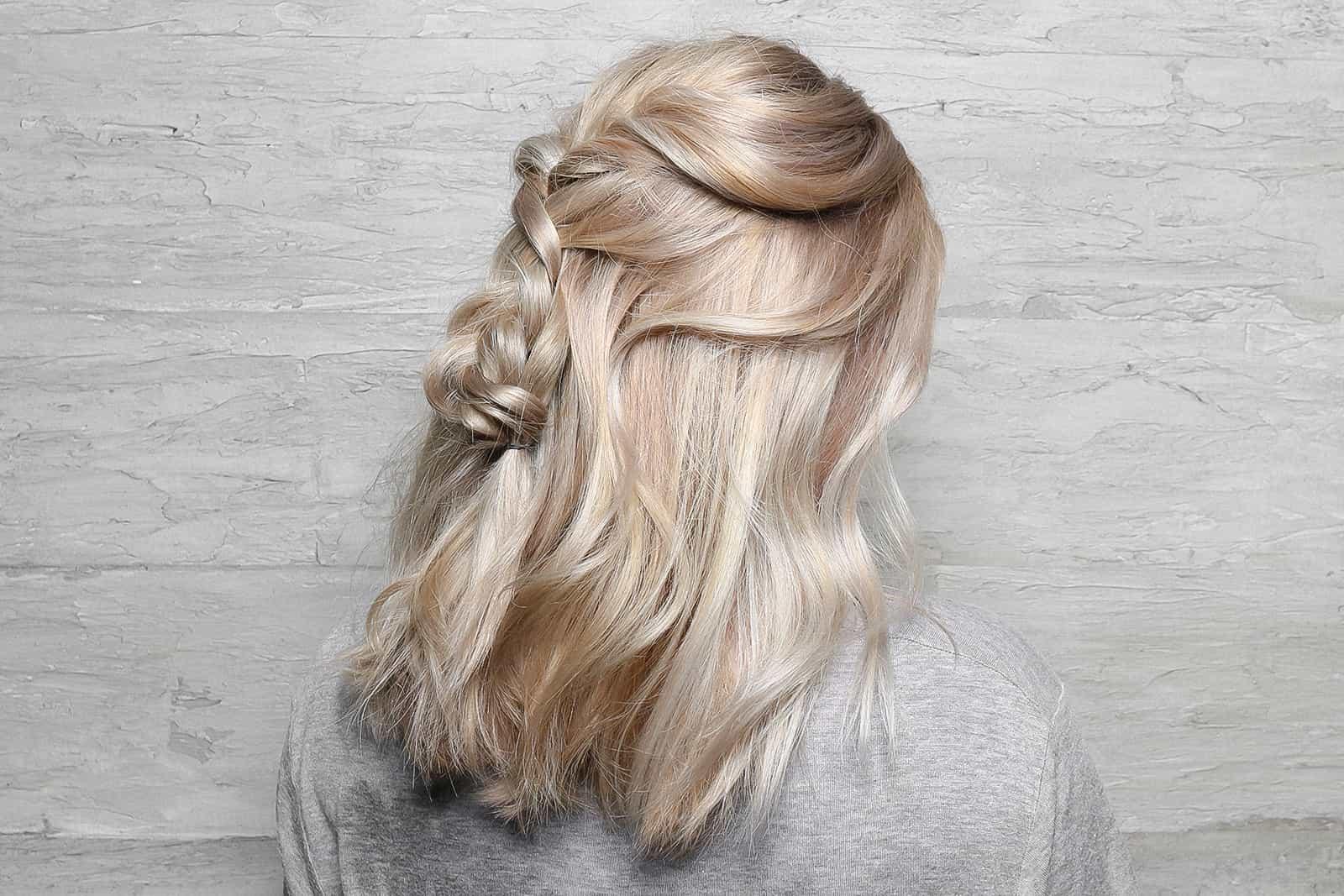 Balayage partial highlights ash blonde braid