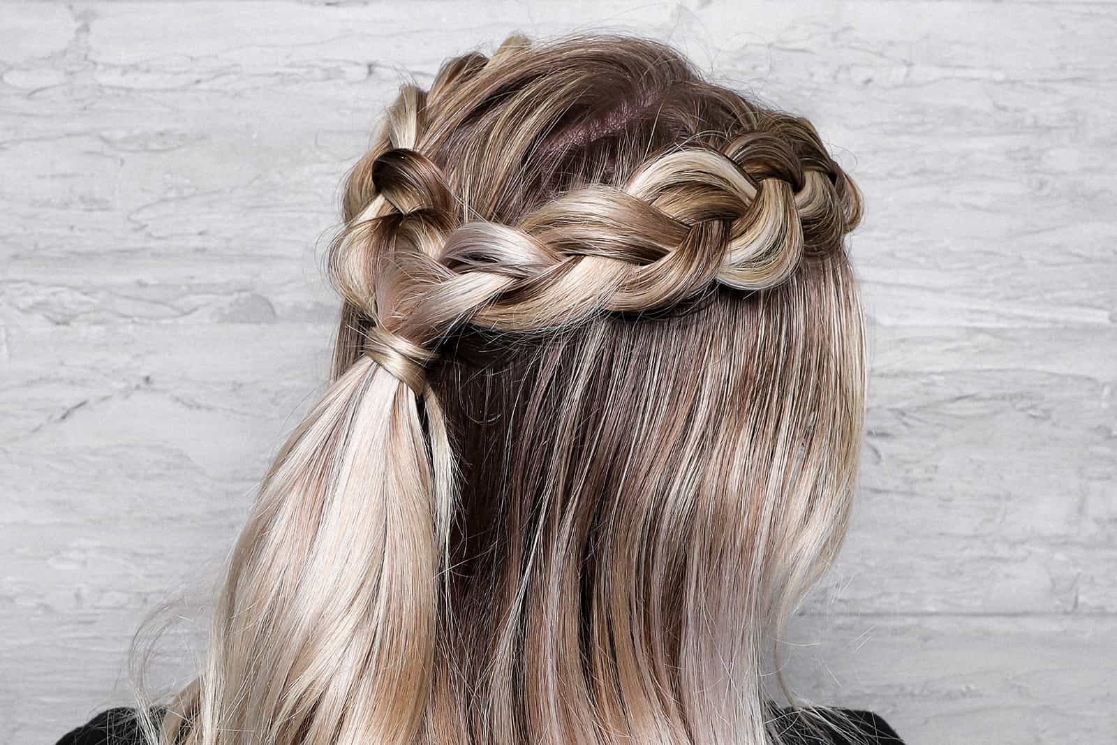 Ash Blonde Crown Braid with Root Touch Up