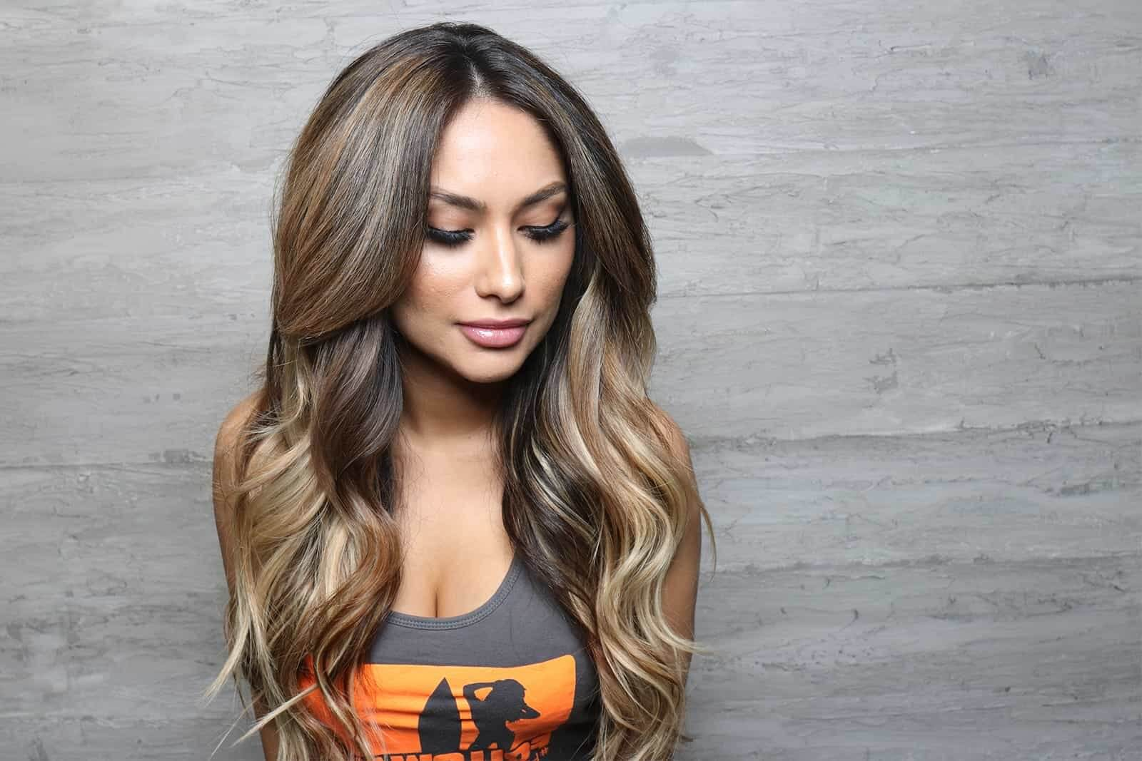Blow out thick hair with balayage highlights