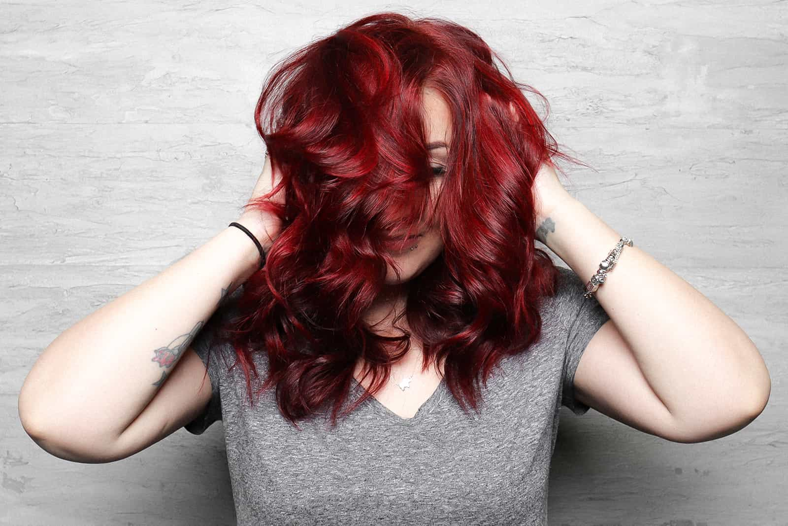 Vibrant red single color blow out hair