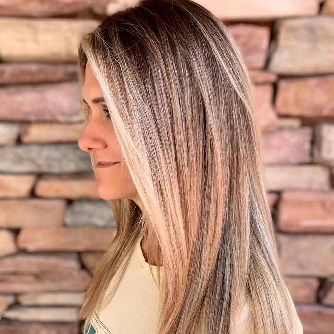 balayage with strong money piece